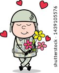 holding a bunch of flowers  ... | Shutterstock .eps vector #1439105576