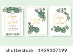 wedding floral invitation card... | Shutterstock .eps vector #1439107199