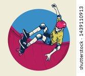 vintage illustration skater... | Shutterstock .eps vector #1439110913