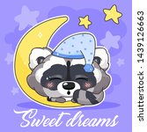 cute raccoon kawaii character... | Shutterstock .eps vector #1439126663