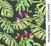 watercolor exotic tropical...   Shutterstock . vector #1439151449