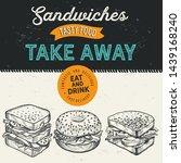 sandwich illustration   bagel ... | Shutterstock .eps vector #1439168240
