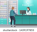 drugstore. pharmacy with... | Shutterstock .eps vector #1439197853