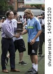 NEW YORK - JUNE 26: Massimo Ambrosini accepts wrist watch from Girard-Perregaux at The Sixth Steve Nash Foundation Showdown at Sarah D. Roosevelt Park on June 26, 2013 in New York City. - stock photo