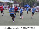 NEW YORK - JUNE 26: Soccer and basketball players & Steve Nash play at The Sixth Steve Nash Foundation Showdown at Sarah D. Roosevelt Park on June 26, 2013 in New York City. - stock photo