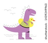 cute cartoon dinosaur in a swim ...   Shutterstock .eps vector #1439249963