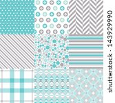 seamless patterns with fabric... | Shutterstock .eps vector #143929990