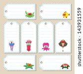 Gift Tags With Cartoon Sea...