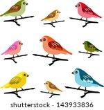 colorful vector spring birds   Shutterstock .eps vector #143933836