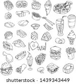 set hand sketches doodle food... | Shutterstock .eps vector #1439343449