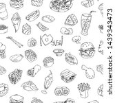 set of food and drink outline... | Shutterstock .eps vector #1439343473