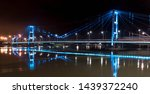 illuminated suspension bridge... | Shutterstock . vector #1439372240
