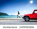 red summer car on beach and... | Shutterstock . vector #1439402606