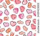 seamless pattern with red hand... | Shutterstock . vector #1439423003