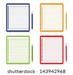 new red notebook and blank...   Shutterstock .eps vector #143942968