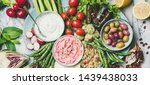 healthy vegan snack set. flat... | Shutterstock . vector #1439438033