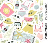 seamless pattern with beach... | Shutterstock .eps vector #1439439380