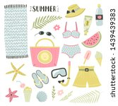 set of illustrations with beach ... | Shutterstock .eps vector #1439439383