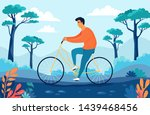 young man driving bicycle in... | Shutterstock .eps vector #1439468456