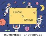 astronauts holding message... | Shutterstock .eps vector #1439489396