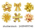 set of gold bow gift isolated... | Shutterstock . vector #1439499740