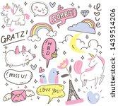 set of cute hand drawn doodles | Shutterstock .eps vector #1439514206