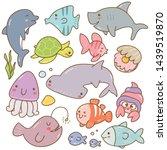 set of sea animal kawaii doodles | Shutterstock .eps vector #1439519870