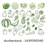veggie and fruits set ... | Shutterstock .eps vector #1439590340