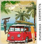 Surf Poster With Retro Bus And...