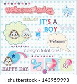 welcome baby boy card  vector... | Shutterstock .eps vector #143959993