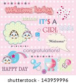 welcome baby girl card vector... | Shutterstock .eps vector #143959996