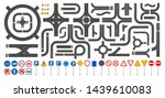 set of road sign and road parts ... | Shutterstock .eps vector #1439610083