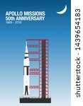 Apollo mission ready for launch. Saturn v rocket at the launch pad. Apollo missions 50th anniversary. 1969-2019.