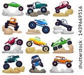 monster truck vector cartoon... | Shutterstock .eps vector #1439669516