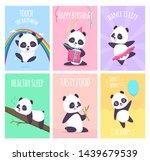 panda cards. cute little bear... | Shutterstock .eps vector #1439679539
