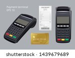 payment terminal. credit card... | Shutterstock .eps vector #1439679689