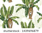 banana leaves and wild... | Shutterstock .eps vector #1439696879