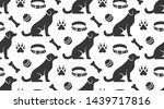 Stock vector pet shop vector seamless pattern with flat icons of sitting dog collar paw toy ball and bone 1439717816