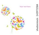 butterflies flowers design | Shutterstock . vector #143972584