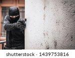 masked criminal  a fugitive ... | Shutterstock . vector #1439753816