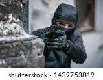 masked criminal  a fugitive ... | Shutterstock . vector #1439753819