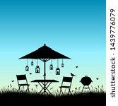 silhouette summer garden... | Shutterstock .eps vector #1439776079