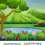 background scene with pond in... | Shutterstock .eps vector #1439797496