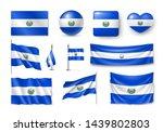 various flags of el salvador... | Shutterstock .eps vector #1439802803