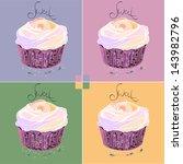 illustrations  cupcake  dessert ... | Shutterstock .eps vector #143982796