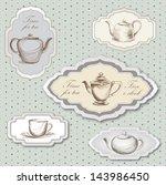 tea cup  pot  kettle retro card.... | Shutterstock .eps vector #143986450