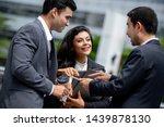 happy active asian... | Shutterstock . vector #1439878130