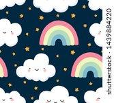 cloud vector pattern  cute... | Shutterstock .eps vector #1439884220