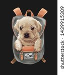Stock vector cute puppy in backpack illustration 1439915309