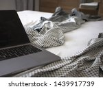 laptop on the bed. work at home ... | Shutterstock . vector #1439917739